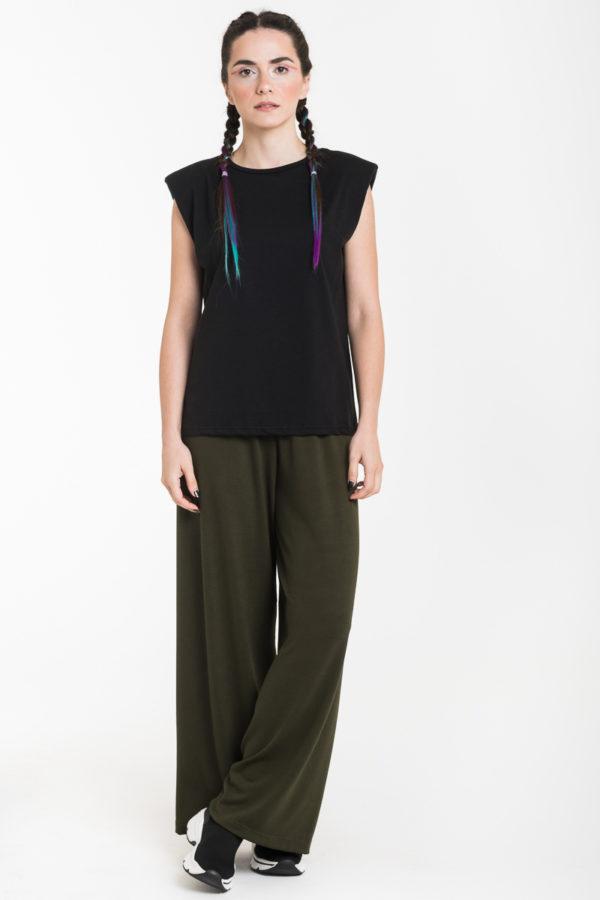 Μαύρη Αμάνικη Μπλούζα με Βάτες