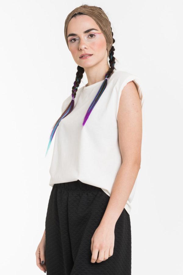 Άσπρη Αμάνικη Μπλούζα με Βάτες