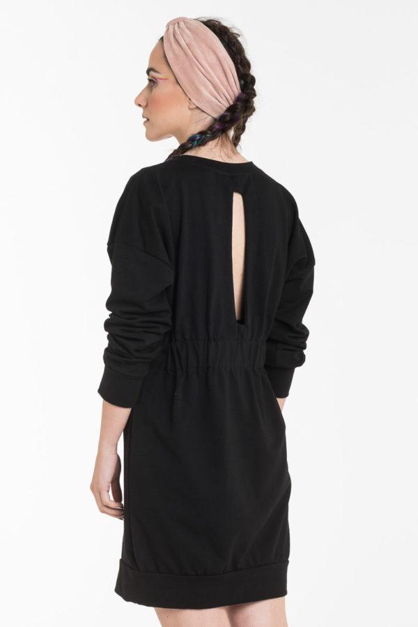 Μαύρο Κοντό Φόρεμα Φούτερ με Άνοιγμα στην Πλάτη