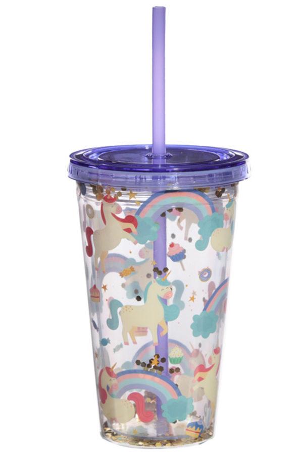 Glitter Sweet Dreams Unicorn Πλαστικό Ποτήρι με Καλαμάκι 500ml