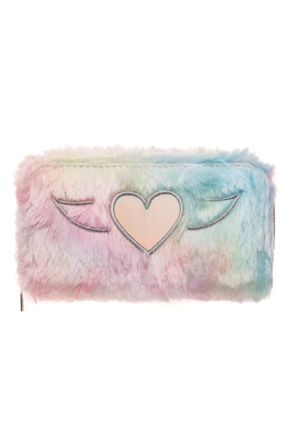 Γούνινο Πορτοφόλι Καρδιά Shiny Ροζ