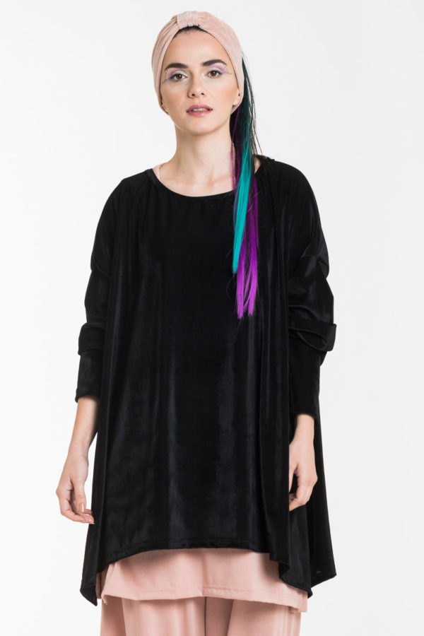 Μαύρη Βελούδινη Μπλούζα Rip Oversized