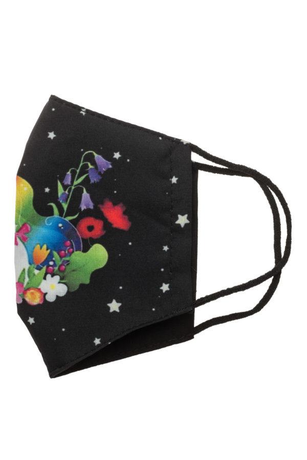 Unicorn Μαύρη Παιδική Υφασμάτινη Μάσκα Προστασίας Επαναχρησιμοποιούμενη