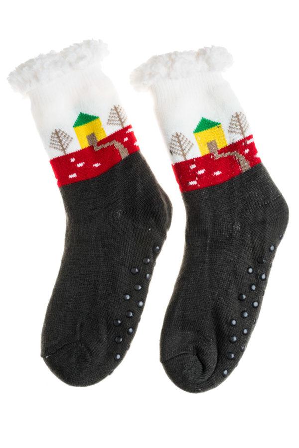 Άσπρο Γκρι Χειμωνιάτικες Κάλτσες με Γούνα Fluffy Σπίτια