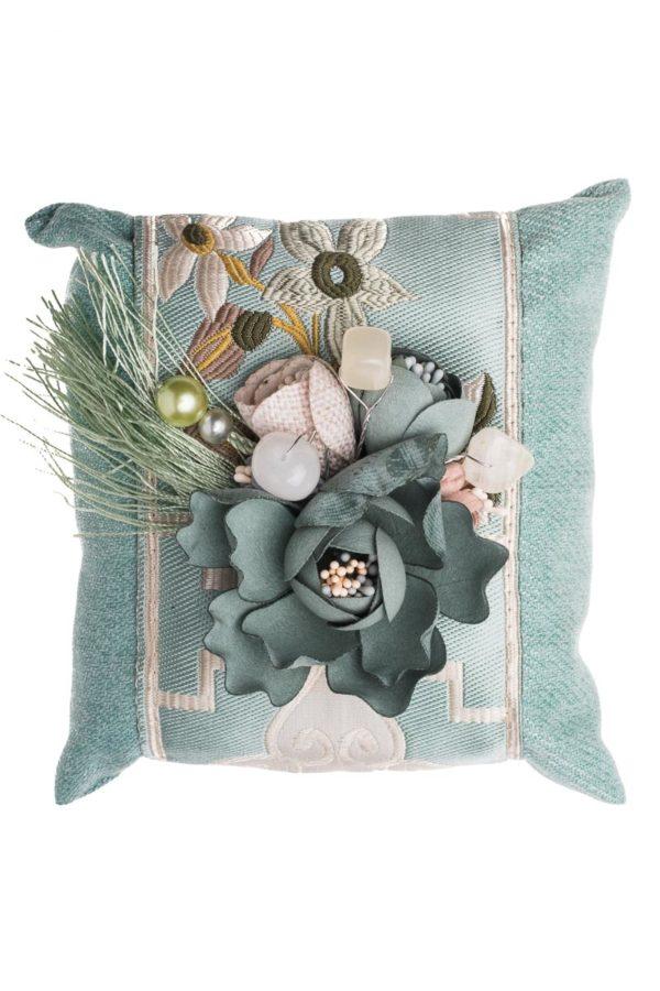 Mint Τετράγωνο Μαξιλάρι με Λουλούδια Αρωματικό Χώρου Bamboo Charcoal