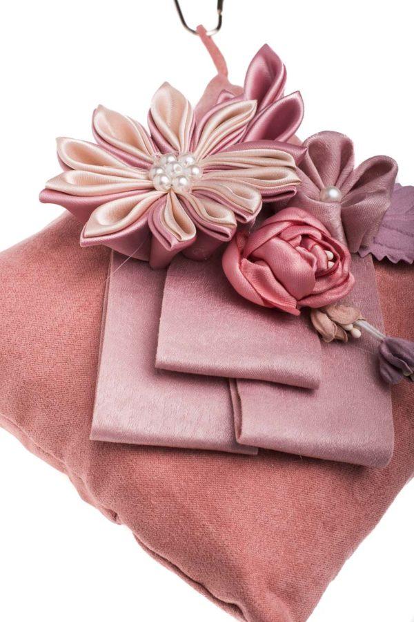 Ροζ Τετράγωνο Μαξιλάρι με Λουλούδια Αρωματικό Χώρου Bamboo Charcoal
