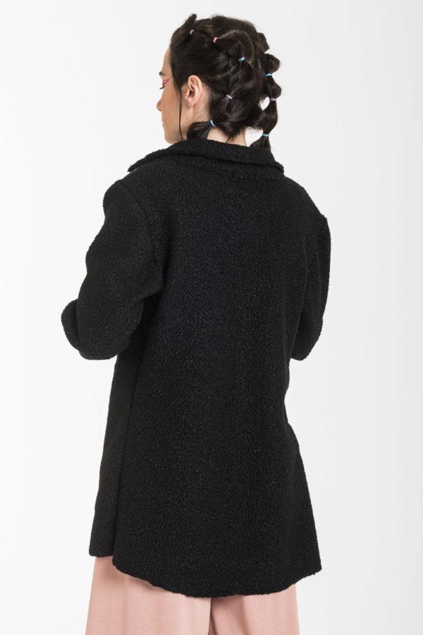Μαύρο Μπουκλέ Μεσάτο Σακάκι Γυναικείο