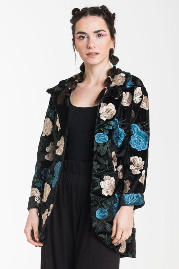 Μαύρο Βελούδο Μεσάτο Σακάκι με Λουλούδια Κέντημα