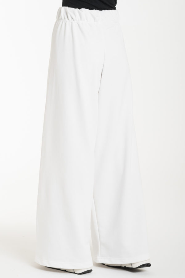Άσπρη Φούτερ Παντελόνα με Ελαστική Μέση
