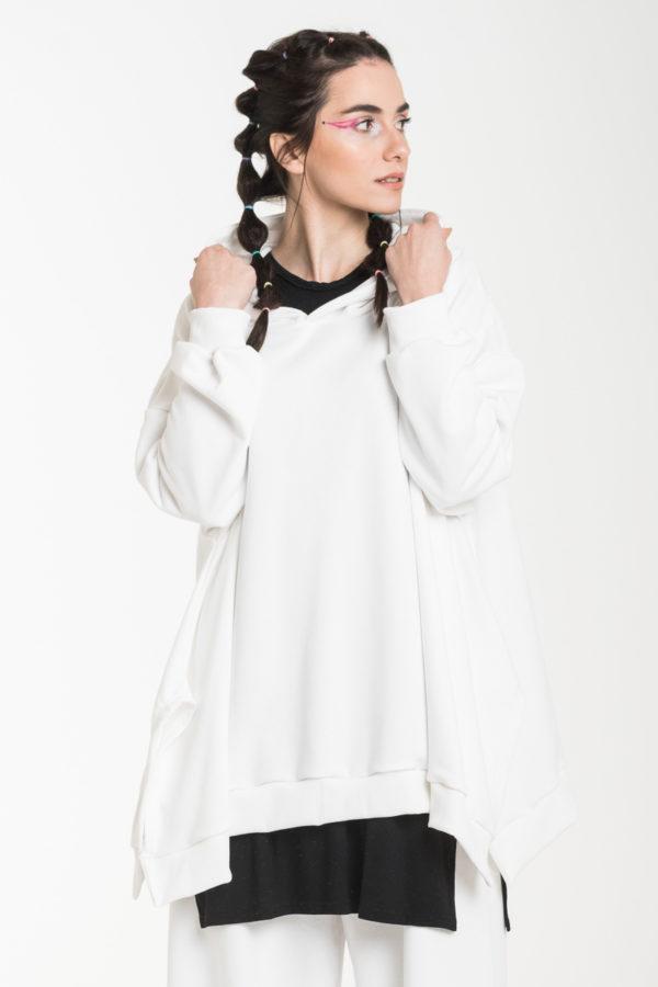 Άσπρη Φούτερ Φαρδιά Μπλούζα με Κουκούλα Oversized