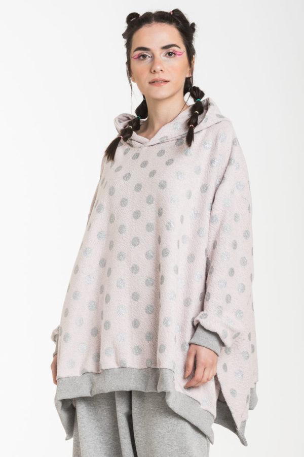 Ροζ Πουά Ασημί Φούτερ Φαρδιά Μπλούζα με Κουκούλα Oversized