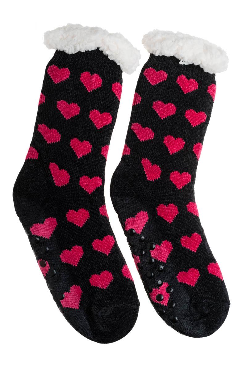 Μαύρες Βελουτέ Χειμωνιάτικες Κάλτσες με Γούνα Fluffy Καρδιές