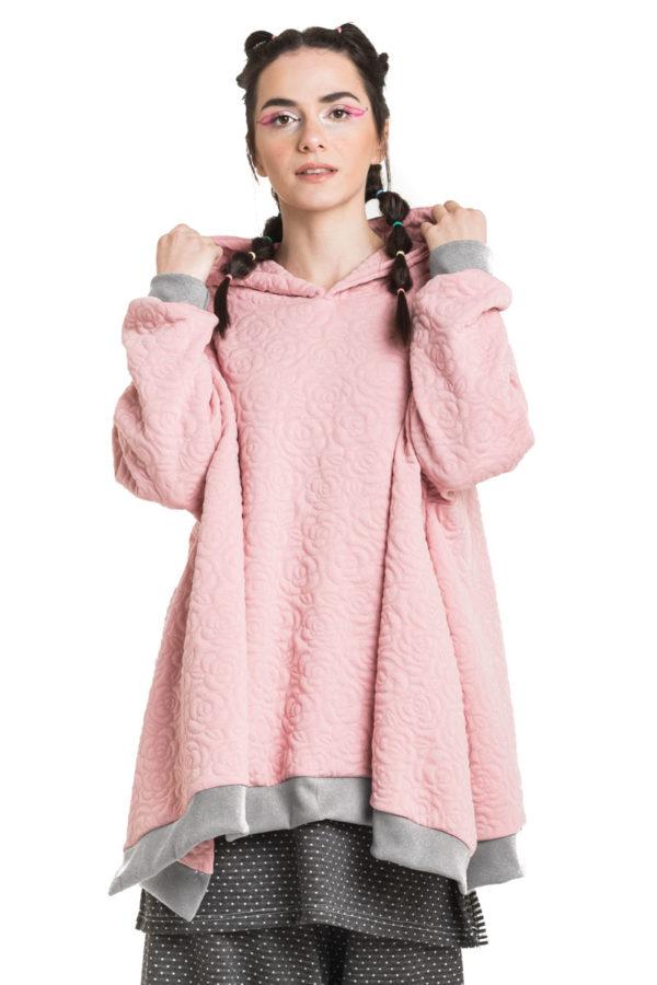 Ροζ Φλοράλ Καπιτονέ Μπλούζα με Κουκούλα Oversized