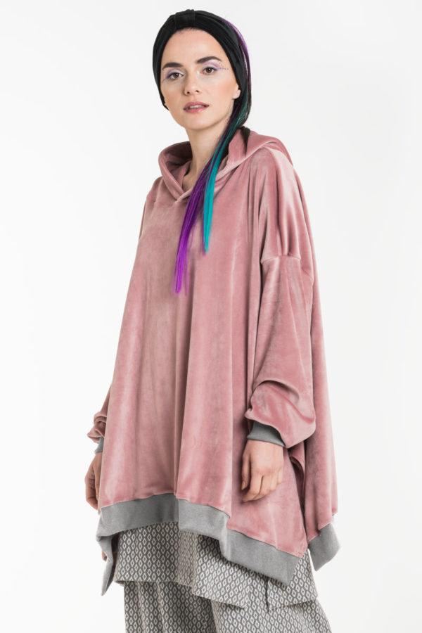 Ροζ Βελουτέ Μπλούζα με Κουκούλα Oversized