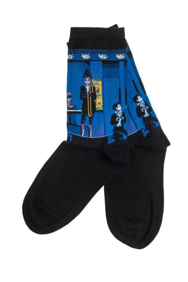 Ψηλές Γυναικείες Κάλτσες με Σχέδιο Μπλε Μουσικός