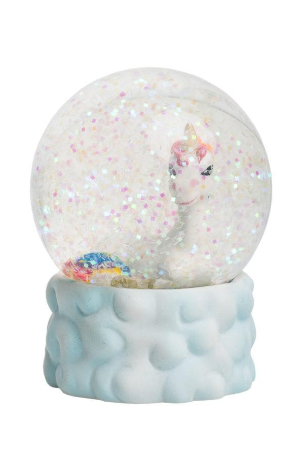 Γυάλινη Νερόμπαλα Μονόκερος με Γκλίτερ Χιόνι Μεγάλη