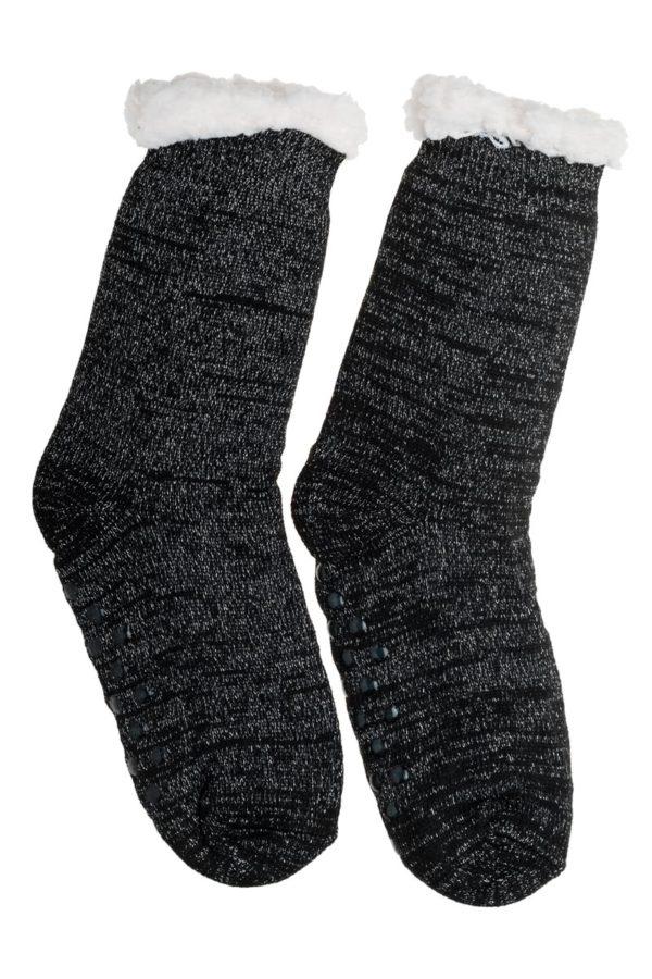 Μαύρες Χειμωνιάτικες Κάλτσες με Γούνα Fluffy Γκλίτερ