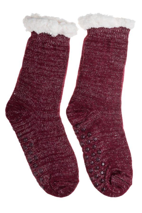 Μπορντό Χειμωνιάτικες Κάλτσες με Γούνα Fluffy Γκλίτερ