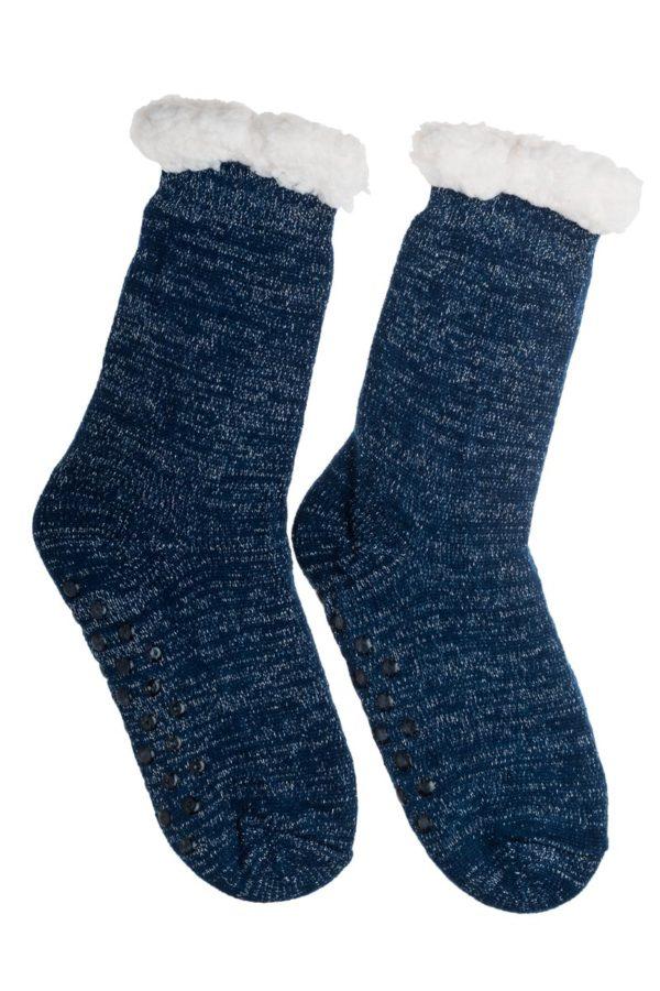 Μπλε Χειμωνιάτικες Κάλτσες με Γούνα Fluffy Γκλίτερ