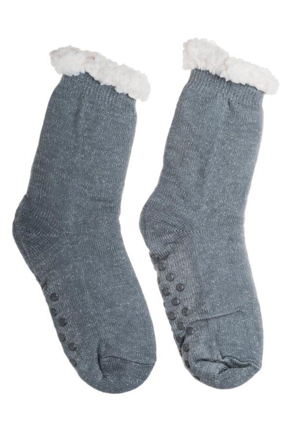 Γκρι Χειμωνιάτικες Κάλτσες με Γούνα Fluffy Γκλίτερ