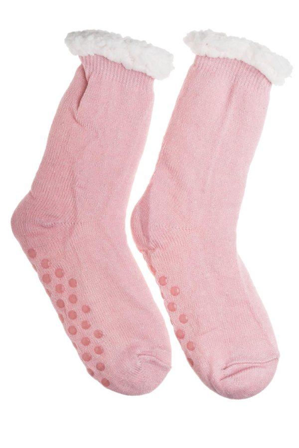 Ροζ Χειμωνιάτικες Κάλτσες με Γούνα Fluffy Γκλίτερ