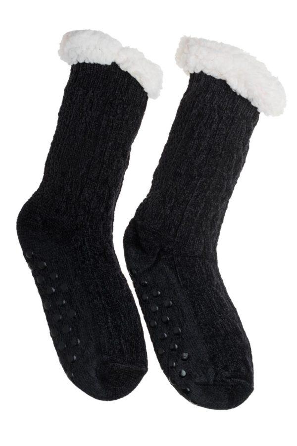Μαύρες Βελουτέ Χειμωνιάτικες Κάλτσες με Γούνα Fluffy Κοτσίδες