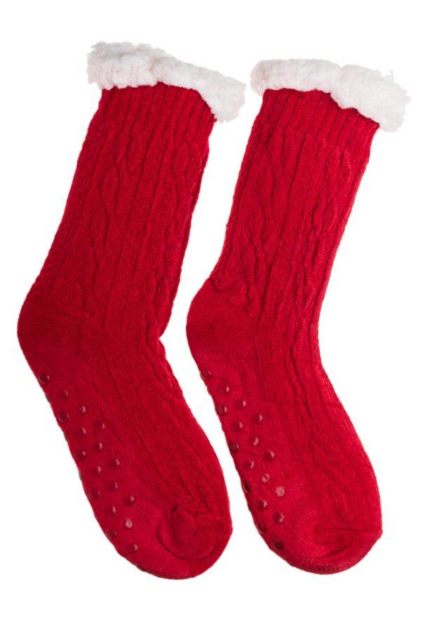 Κόκκινες Βελουτέ Χειμωνιάτικες Κάλτσες με Γούνα Fluffy Κοτσίδες