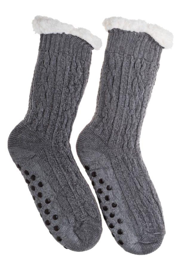 Γκρι Βελουτέ Χειμωνιάτικες Κάλτσες με Γούνα Fluffy Κοτσίδες