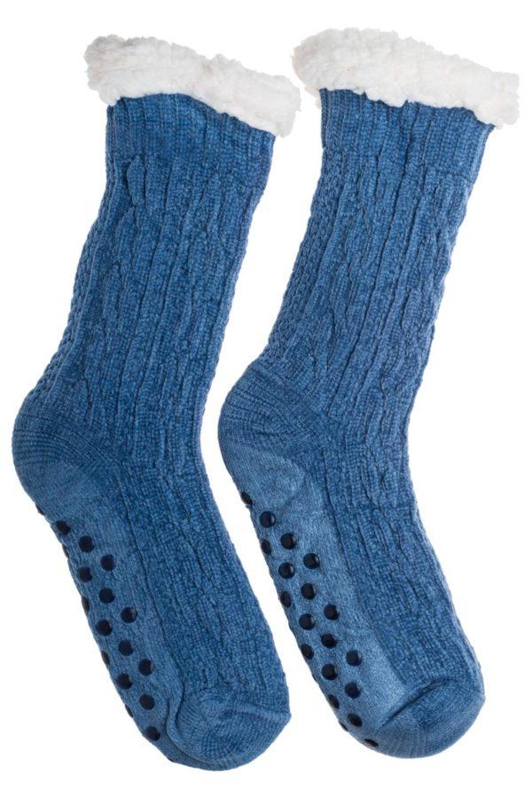 Μπλε Βελουτέ Χειμωνιάτικες Κάλτσες με Γούνα Fluffy Κοτσίδες
