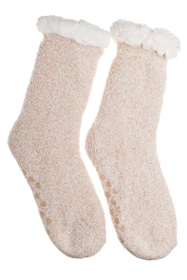 Μπεζ Χειμωνιάτικες Κάλτσες με Γούνα Fluffy Teddy
