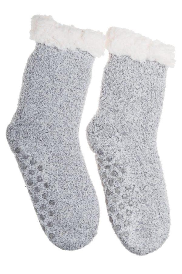 Γκρι Χειμωνιάτικες Κάλτσες με Γούνα Fluffy Teddy