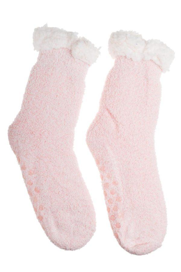 Ροζ Χειμωνιάτικες Κάλτσες με Γούνα Fluffy Teddy