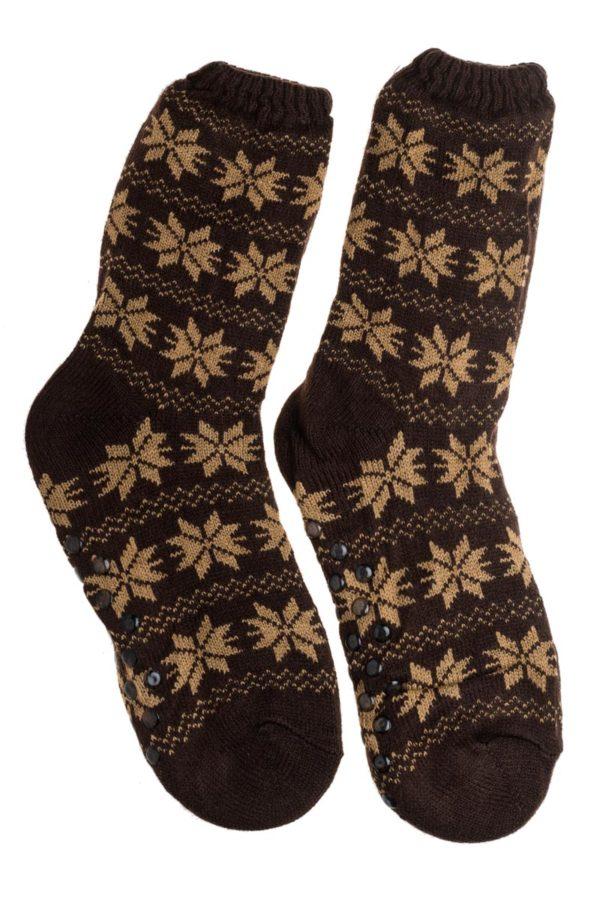 Σκούρο Καφέ Ανδρικές Χειμωνιάτικες Κάλτσες με Γούνα Χιονονιφάδες