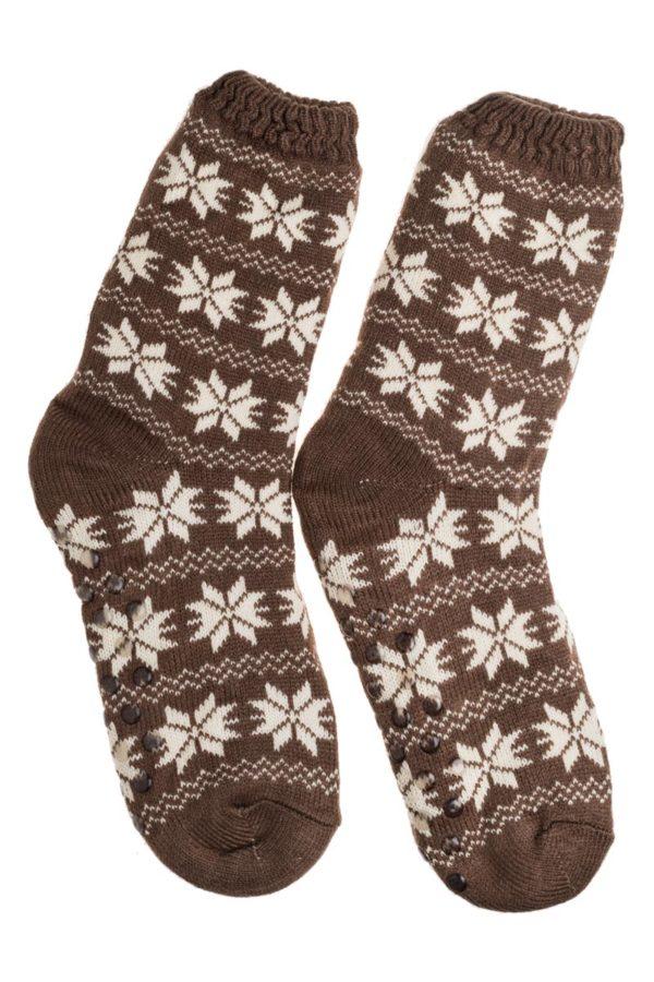 Καφέ Ανοιχτό Ανδρικές Χειμωνιάτικες Κάλτσες με Γούνα Χιονονιφάδες