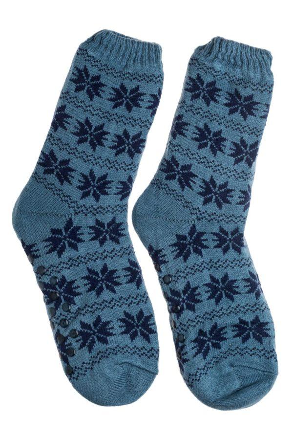 Γαλάζιες Ανδρικές Χειμωνιάτικες Κάλτσες με Γούνα Χιονονιφάδες
