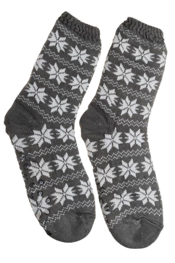 Γκρι Ανδρικές Χειμωνιάτικες Κάλτσες με Γούνα Χιονονιφάδες