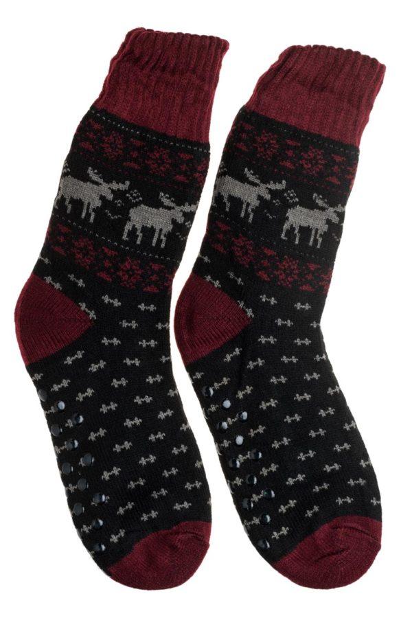 Μπορντό Ανδρικές Χειμωνιάτικες Κάλτσες με Γούνα Fluffy Τάρανδοι