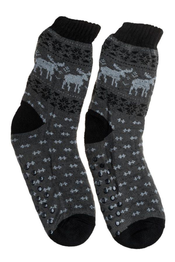 Γκρι Ανδρικές Χειμωνιάτικες Κάλτσες με Γούνα Fluffy Τάρανδοι
