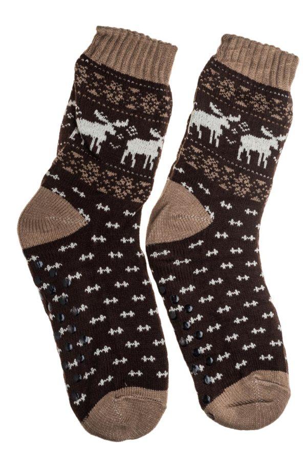 Καφέ Ανδρικές Χειμωνιάτικες Κάλτσες με Γούνα Fluffy Τάρανδοι