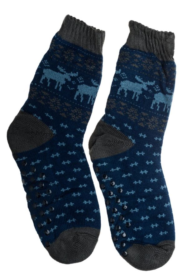 Μπλε Ανδρικές Χειμωνιάτικες Κάλτσες με Γούνα Fluffy Τάρανδοι