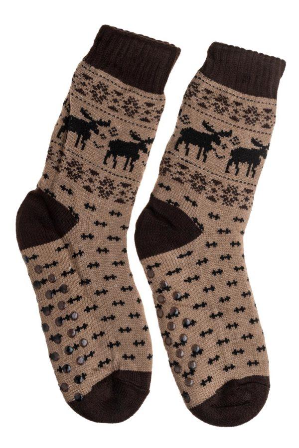 Μπεζ Ανδρικές Χειμωνιάτικες Κάλτσες με Γούνα Fluffy Τάρανδοι