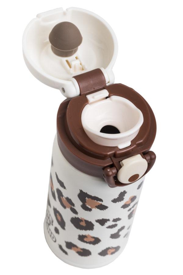 Ανοξείδωτο Μπουκάλι Θερμός Υγρών Λεοπάρ Άσπρο 350ml