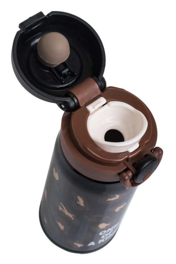 Ανοξείδωτο Μπουκάλι Θερμός Υγρών Λεοπάρ Μαύρο 350ml
