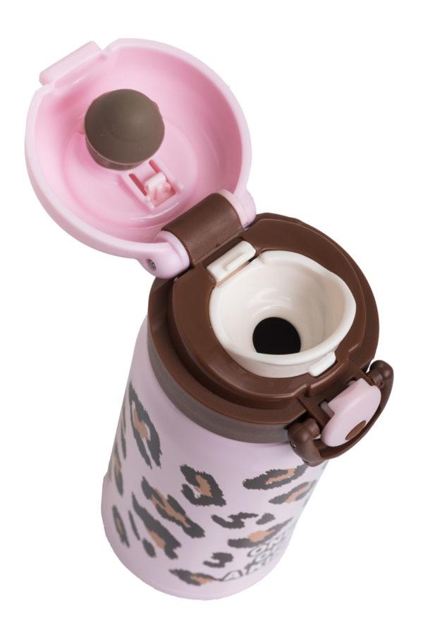 Ανοξείδωτο Μπουκάλι Θερμός Υγρών Λεοπάρ Ροζ 350ml