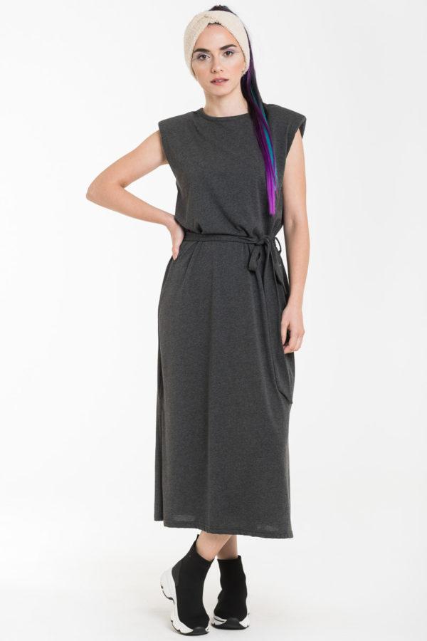 Γκρι Αμάνικο Φόρεμα Μίντι με Βάτες