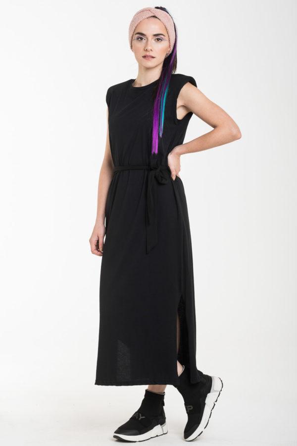 Μαύρο Αμάνικο Φόρεμα Μίντι με Βάτες