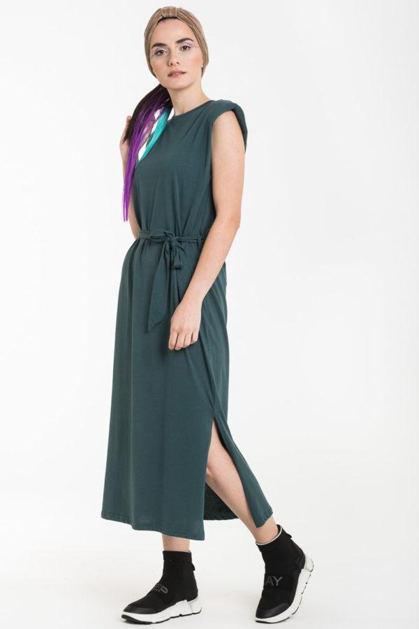 Πράσινο Αμάνικο Φόρεμα Μίντι με Βάτες