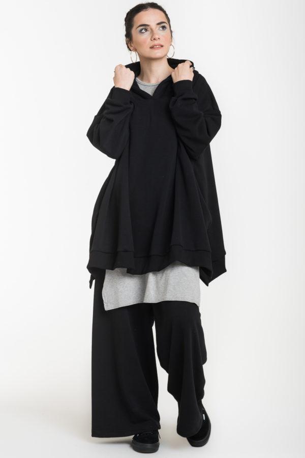 Σετ Μαύρο Φούτερ Φαρδιά Μπλούζα & Παντελόνα Φαρδιά