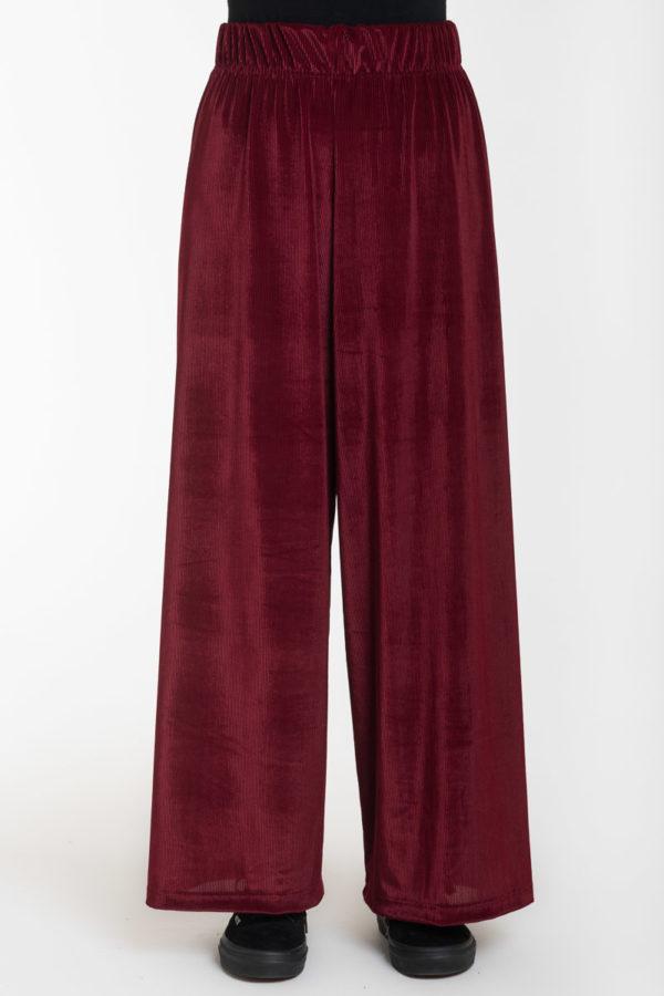 Μπορντό Βελούδινη Rip Παντελόνα με Ελαστική Μέση
