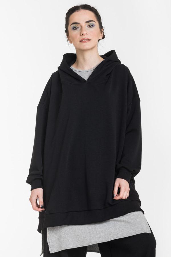 Μαύρη Φούτερ Φαρδιά Μπλούζα με Κουκούλα Oversized